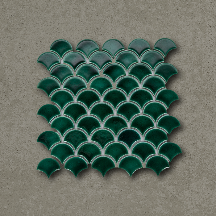 Fish Scale Mosaic Green Handmade Porcelain Tile Otto