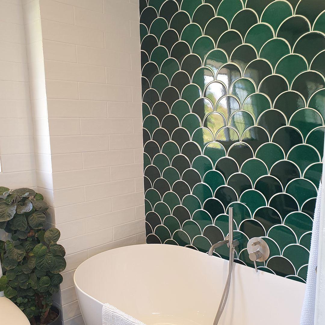 Fish Scale Green Handmade Ceramic Tile