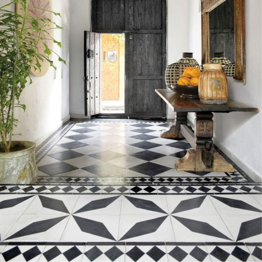 Black Diamond Encaustic Cement Tile