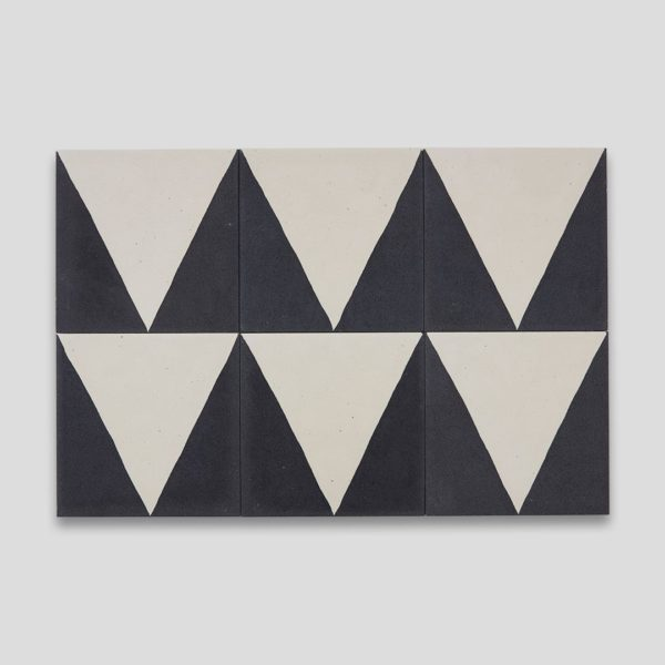 Black Pyramid Encaustic Cement Tile