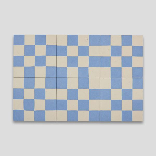 Blue Checkers Sanded 602 Encaustic Cement Tile