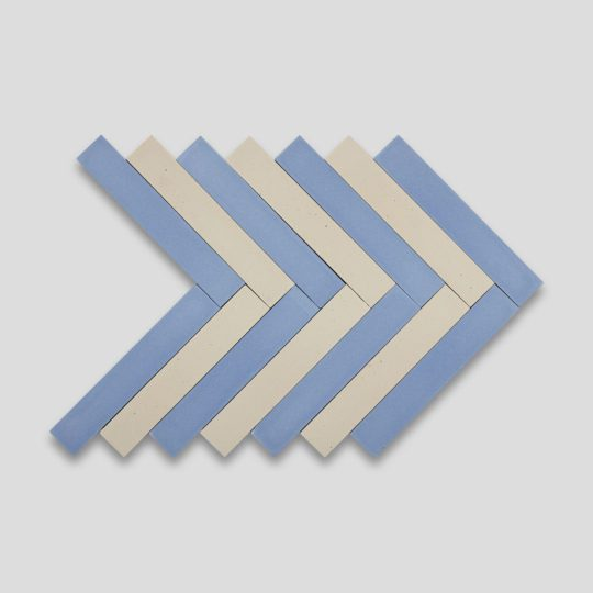Blue Cream Herringbone Encaustic Cement Tile