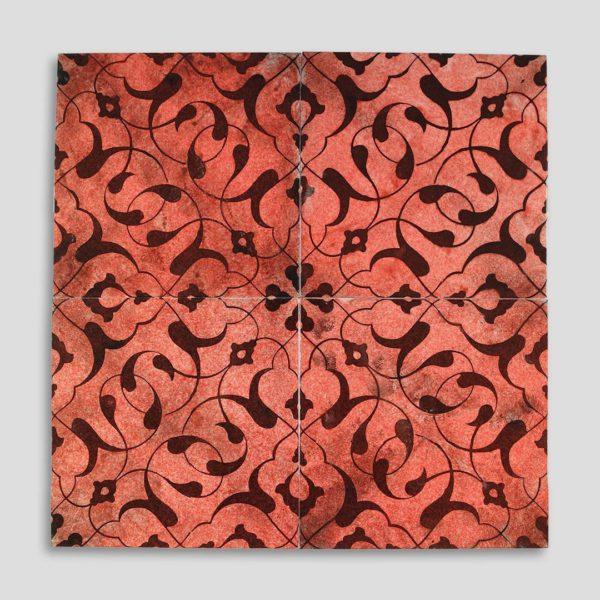 Coral Oriental Fairy Hand Printed Turkish Ceramic Tile