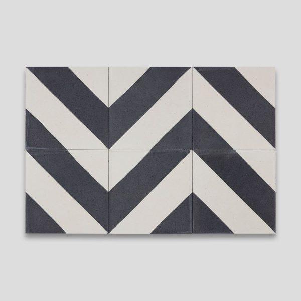 Cross Stripe Black 601 Encaustic Cement Tile