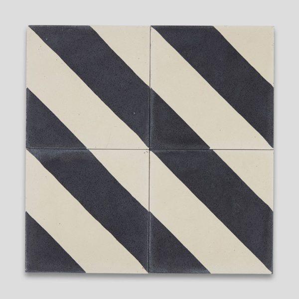 Cross Stripe Black 602 Encaustic Cement Tile