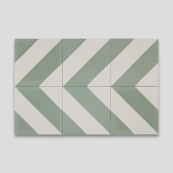 Cross Stripe Green 601 Encaustic Cement Tile