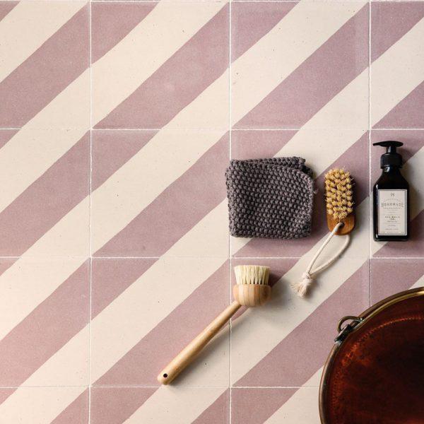 Cross Stripe Pink 602 Encaustic Cement Tile