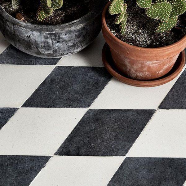 Diamond Deep Black Encaustic Cement Tile