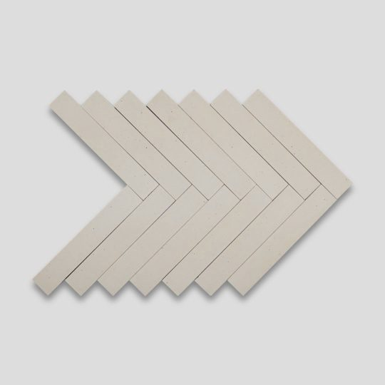 Dirty White Herringbone Encaustic Cement Tile