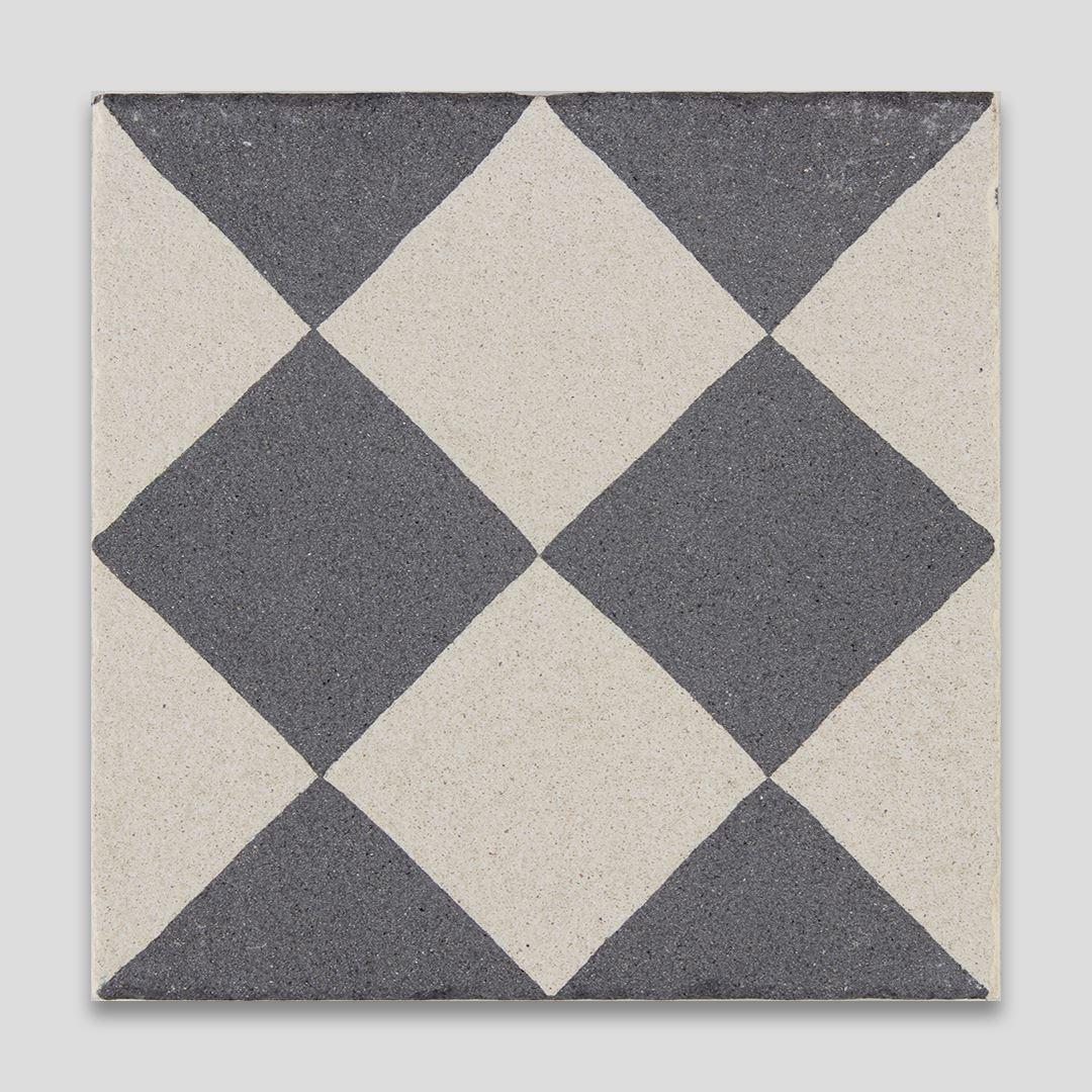 Double Diamond Sanded Encaustic Cement Tile   Otto Tiles & Design