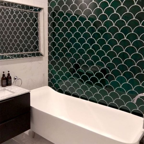 Fish Scale Green Ceramic Fish Scale Tile