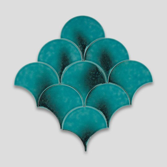 Fish Scale Oxidised Turquoise Ceramic Fish Scale Tile