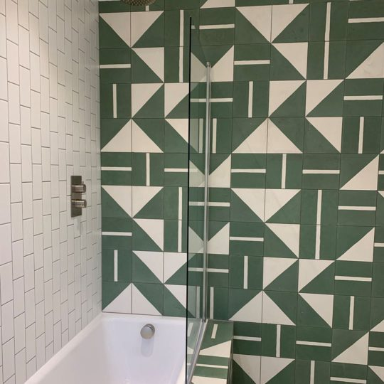 Green Geometry Encaustic Cement Tile