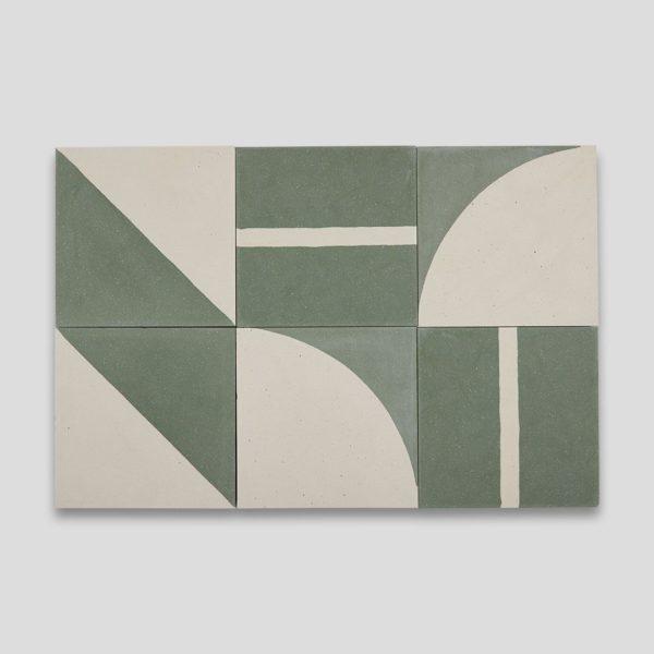 Green Geometry Encaustic Cement Tile
