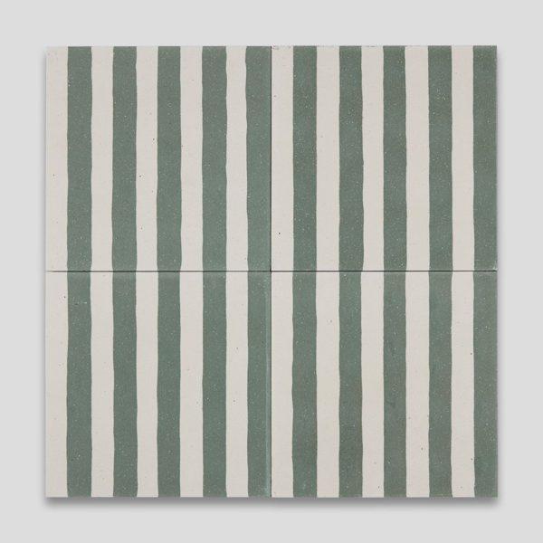 Green Stripes Encaustic Cement Tile
