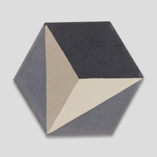 Hex 3D Gray Hexagon Encaustic Cement Tile