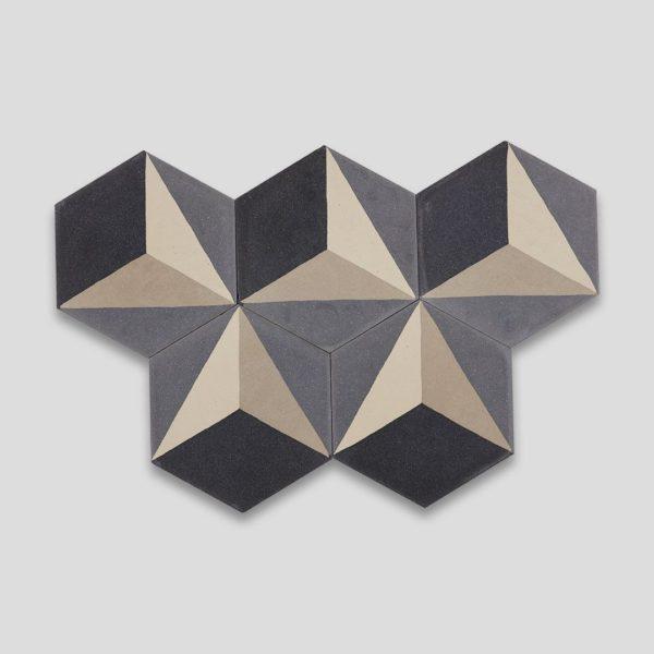 Hex 3D Gray Hexagon Encaustic Cement Tile