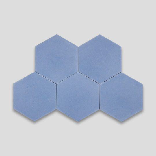 Hex Plain Blue Hexagon Encaustic Cement Tile
