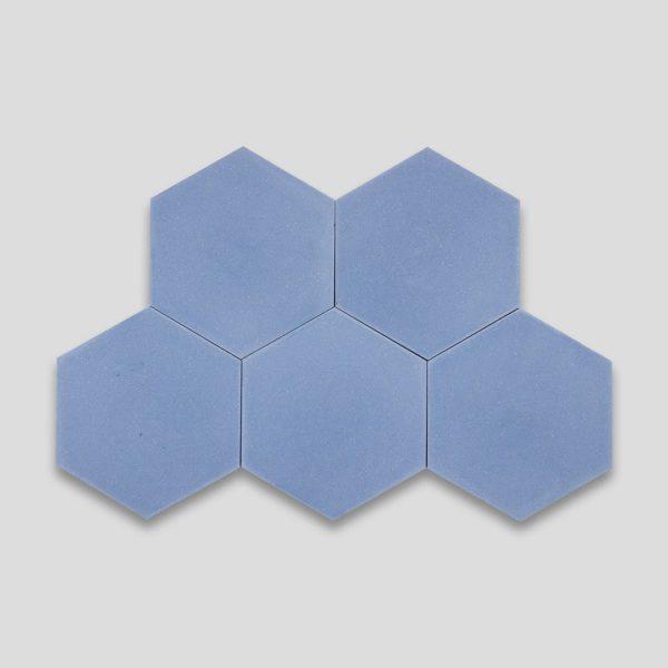 Hex Plain Blue Hexagon Encaustic Cement Tile
