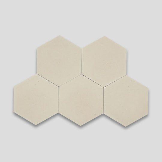 Hex Plain Cream Hexagon Encaustic Cement Tile