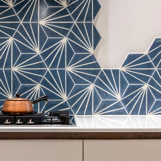 Lily Hex Navy Blue Hexagon Encaustic Cement Tile