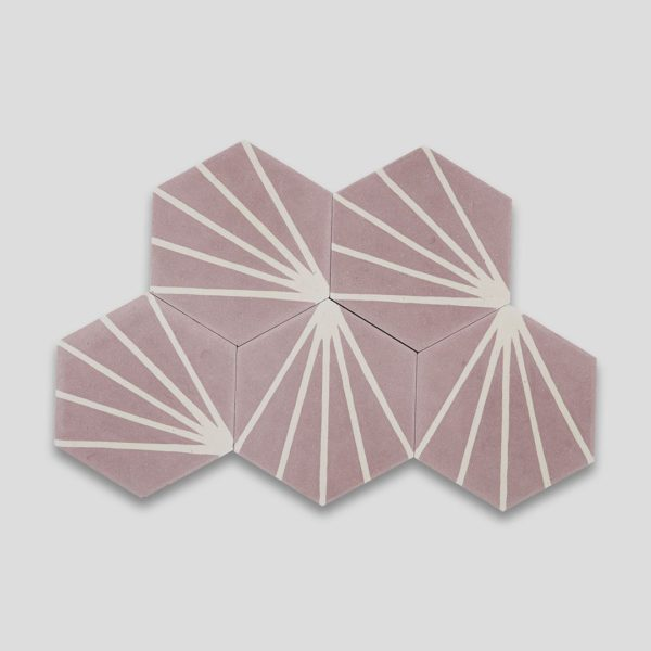 Lily Hex Pink Hexagon Encaustic Cement Tile