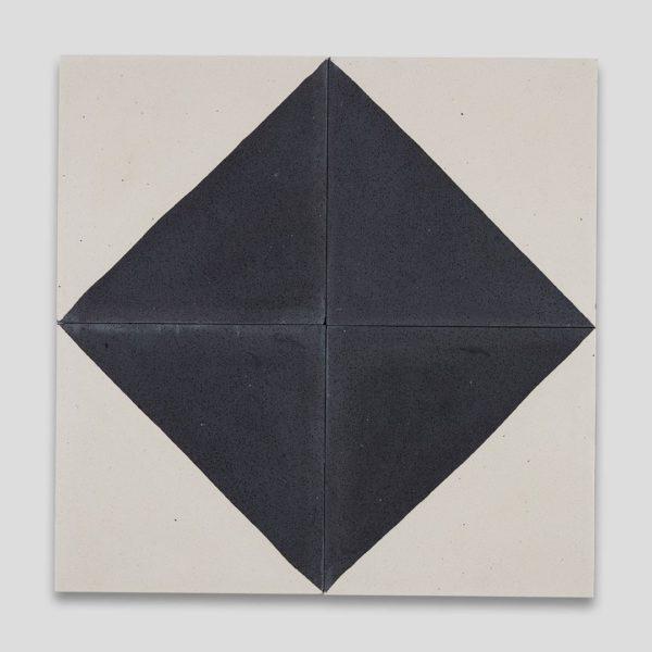 Magic Triangle Black Encaustic Cement Tile