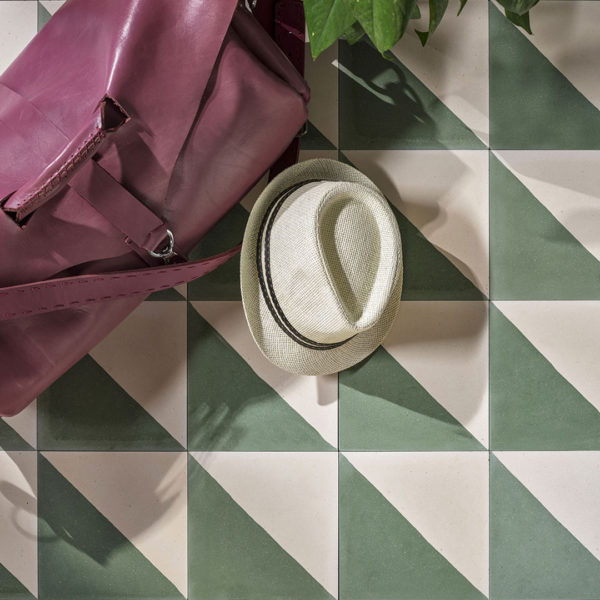 Magic Triangle Green Encaustic Cement Tile