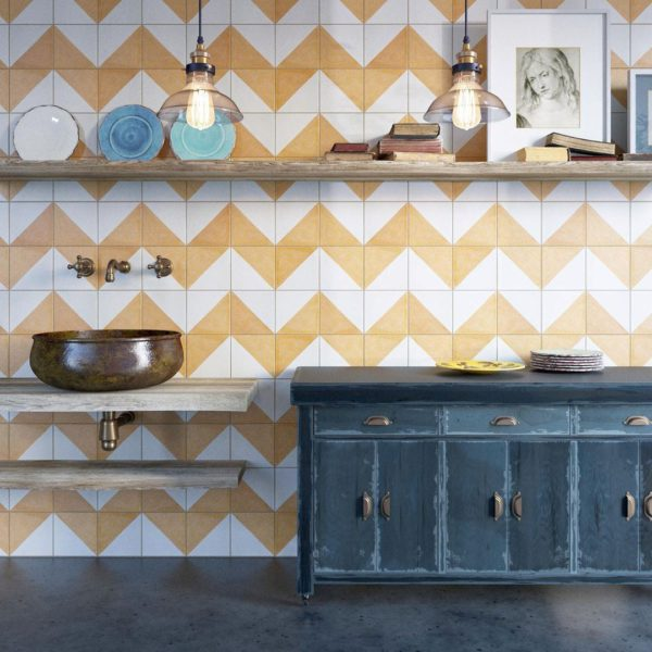 Magic Triangle Yellow Encaustic Cement Tile