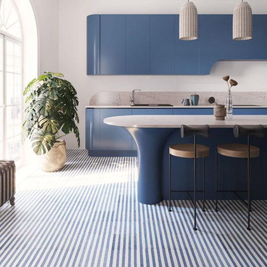 Navy Blue Stripes Encaustic Cement Tile