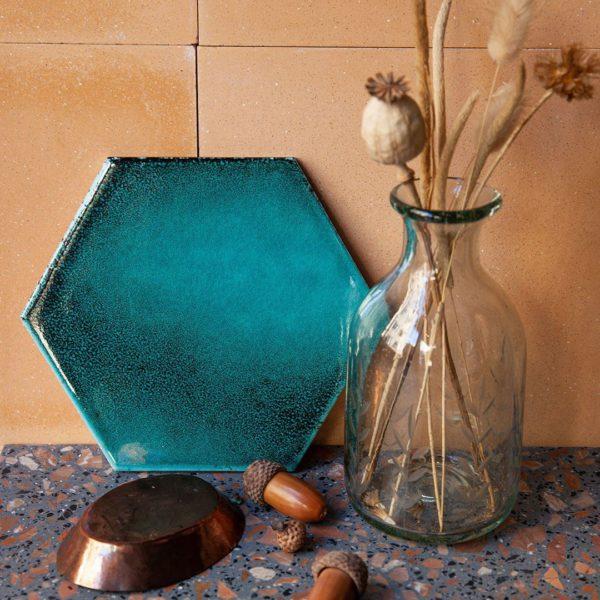 Oxidised Turquoise Hexagon Ceramic Tile
