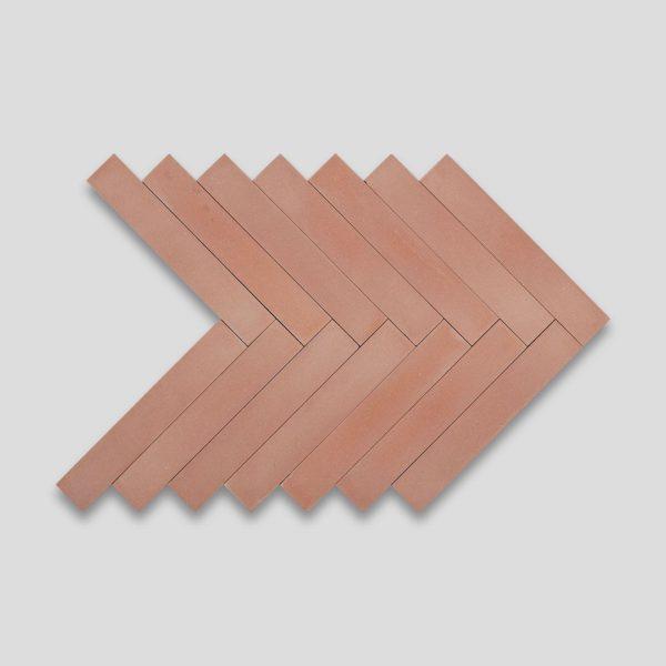 Peach Herringbone Encaustic Cement Tile