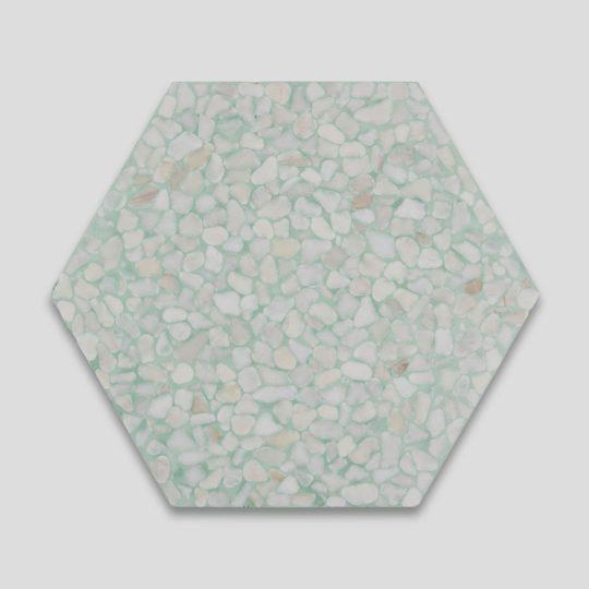 Pebble Hex Terrazzo Green Tile
