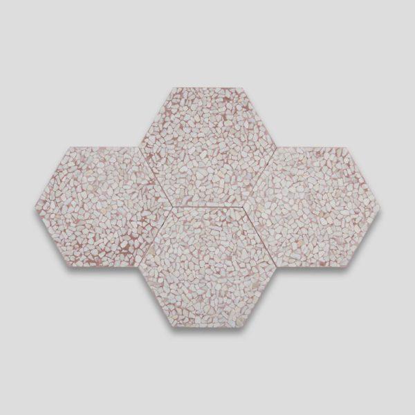 Pebble Hex Terrazzo Pink Tile