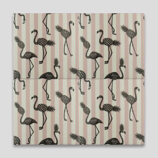 Pink Flamingo Stripes Printed Tile
