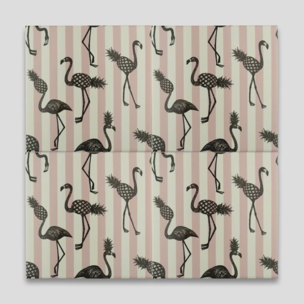 Pink Flamingo Stripes Printed Tile