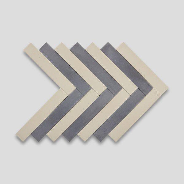 Shark Gray Cream Herringbone Encaustic Cement Tile