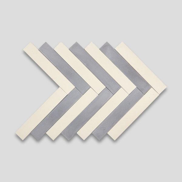 Shark Gray-Cream Herringbone Encaustic Cement Tile