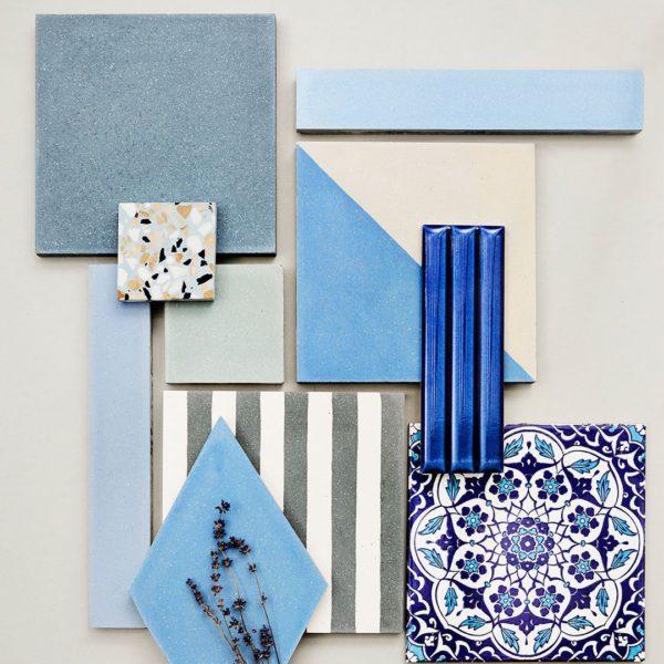 Sky Blue Herringbone Encaustic Cement Tile