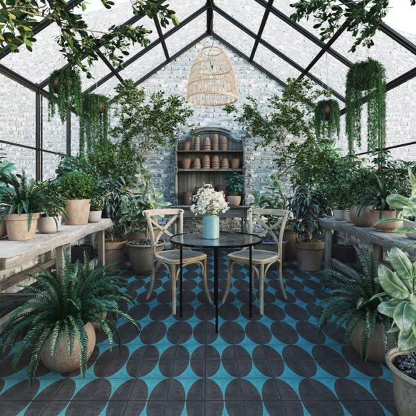 Turquoise Dreams Encaustic Cement Tile