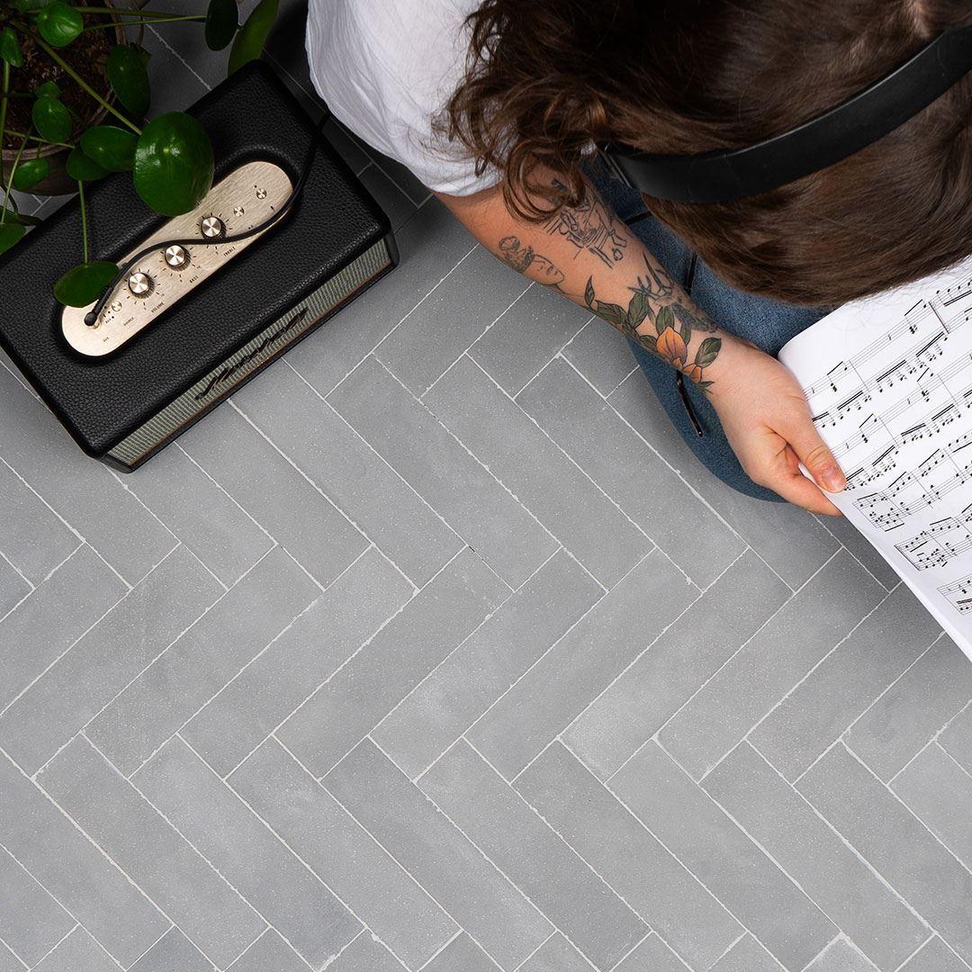 Gray Herringbone Handmade Encaustic Floor Tile