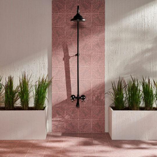 Cats Pink Encaustic Cement Tile