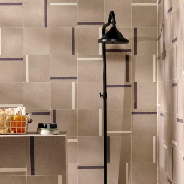 Duo Brown Stripe Encaustic Cement Tile